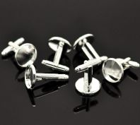 4 Sets ofSilver Plated Cabochon Setting Cuff Links 26x20mm(Fit 18mm)